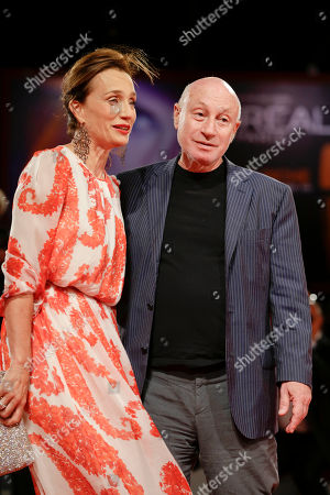 Kristin Scott Thomas Pascal Bonitzer Actress Kristin Scott Thomas, left, and director Pascal Bonitzer arrive for the premiere of the movie 'Cherchez Hortense' at the 69th edition of the Venice Film Festival in Venice, Italy