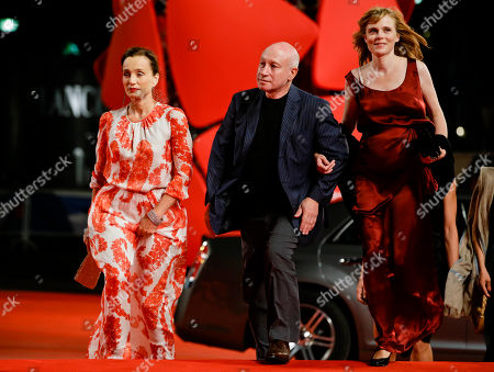 Pascal Bonitzer Kristin Scott Thomas Isabelle Carre From left, actress Kristin Scott, director Pascal Bonitzer and actress Isabelle Carre' arrive for the premiere of the movie 'Cherchez Hortense' at the 69th edition of the Venice Film Festival in Venice, Italy