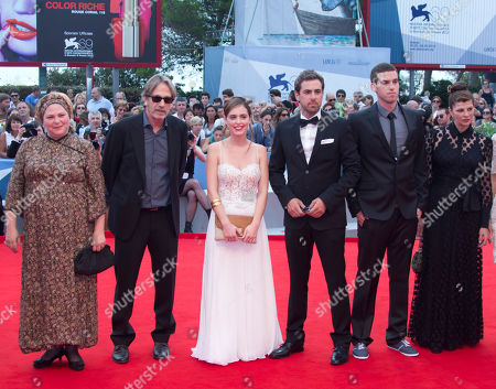 Stock Photo of Yiftach Klein Hadas Yaron Irit Sheleg Ido Samuel Rama Burshtein From left, director Rama Burshtein, producer Assaf Amir, actors, Hadas Yaron, Yiftach Klein, Ido Samuel, and Irit Sheleg arrive for the premiere of the movie 'Fill The Void' at the 69th edition of the Venice Film Festival in Venice, Italy