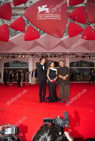 Cho Min-soo Lee Jung-Jin Kim Ki-duk From left, actors Lee Jung-Jin and Cho Min-soo, and director Kim Ki-duk arrive for the premiere of the movie 'Pieta' at the 69th edition of the Venice Film Festival in Venice, Italy