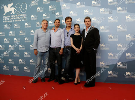 Ehud Bleiberg, Ariel Vromen, Winona Ryder, Michael Shannon, Ray Liotta From left, producer Ehud Bleiberg, director Ariel Vromen and actors Michael Shannon, Winona Ryder and Ray Liotta pose during the photo call of the movie 'The Iceman' at the 69th edition of the Venice Film Festival in Venice, Italy
