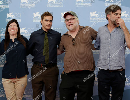 Paul Thomas Anderson, Philip Seymour Hoffman, Joaquin Phoenix, JoAnne Sellar From left, producer JoAnne Sellar, actors Joaquin Phoenix, Philip Seymour Hoffman and Director Paul Thomas Anderson pose at the photo call for the film 'The Master' at the 69th edition of the Venice Film Festival in Venice, Italy