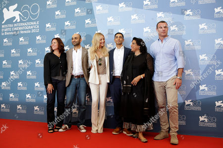 Mohsin Hamid, Riz Ahmed, Mira Nair, Kate Hudson, Liev Schreiber, Lydia Dean Pilcher From left, producer Lydia Dean Pilcher, writer Mohsin Hamid, actress Kate Hudson, actor Riz Ahmed, director Mira Nair, and actor Liev Schreiber pose during the photo call for the movie 'The reluctant Fundamentalist' at the 69th edition of the Venice Film Festival in Venice, Italy