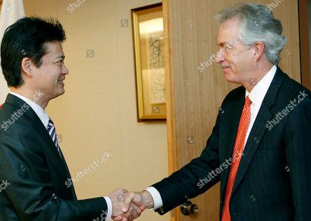 William Burns, Koichiro Gemba U.S. Deputy Secretary of State William Burns, right, shakes hands with Japan's Foreign Minister Koichiro Gemba, prior to their meeting in Tokyo