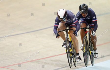 France's team, Sandie Clair and Olivia Montauban, compete in the Women's Team Sprint Qualifying race during the European Track Cycling Championships in Panevezys, Lithuania