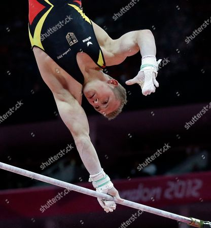 German gymnast Fabian Hambuchen performs on the horizontal bar during the artistic gymnastics men's apparatus finals at the 2012 Summer Olympics, in London