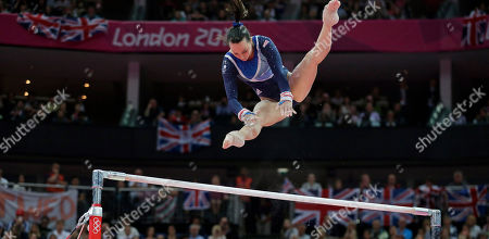 Britain's gymnast Elizabeth Tweddle performs on the uneven bars during the artistic gymnastics women's apparatus finals at the 2012 Summer Olympics, in London