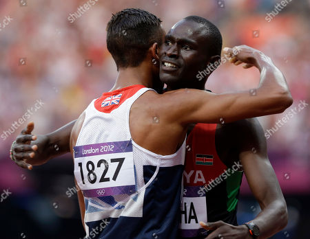 Kenya's David Lekuta Rudisha is embraced by Britain's Andrew Osagie after their men's 800-meter final during the athletics in the Olympic Stadium at the 2012 Summer Olympics, London, . Rudisha set a new world record with a time of 1:40.91
