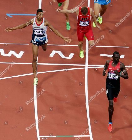Kenya's David Lekuta Rudisha, Great Britain's Andrew Osagie and USA's Nick Symmonds finish their heat in the men's 800-meter semifinals during the athletics in the Olympic Stadium at the 2012 Summer Olympics, London