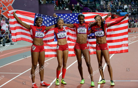 From left, United States' Francena McCorory, United States' Allyson Felix, United States' Deedee Trotter and United States' Sanya Richards-Ross celebrate winning gold in the women's 4x400-meter relay final during the athletics in the Olympic Stadium at the 2012 Summer Olympics, London