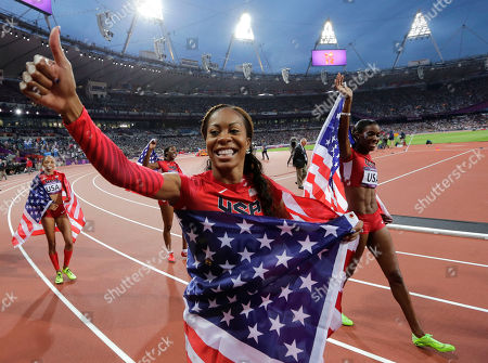 United States' Deedee Trotter, right, United States' Sanya Richards-Ross, center and United States' Allyson Felix, back left, celebrate winning gold in the women's 4x400-meter relay final during the athletics in the Olympic Stadium at the 2012 Summer Olympics, London