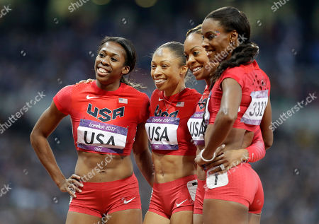 United States' women's 4 X 400-meter relay team from left, Francena McCorory, Allyson Felix, Sanya Richards-Ross and Deedee Trotter celebrate after winning the gold medal during the athletics in the Olympic Stadium at the 2012 Summer Olympics, London