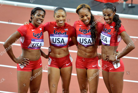 The United States' women's 4 X 400-meter relay team from left, Francena McCorory, Allyson Felix, Sanya Richards-Ross and Deedee Trotter celebrate after winning the gold medal during the athletics in the Olympic Stadium at the 2012 Summer Olympics, London
