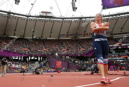 Britain's Goldie Sayers reacts after taking a throw in the women's javelin throw qualification round during the athletics in the Olympic Stadium at the 2012 Summer Olympics, London