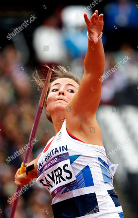Britain's Goldie Sayers takes a throw in the women's javelin throw qualification round during the athletics in the Olympic Stadium at the 2012 Summer Olympics, London