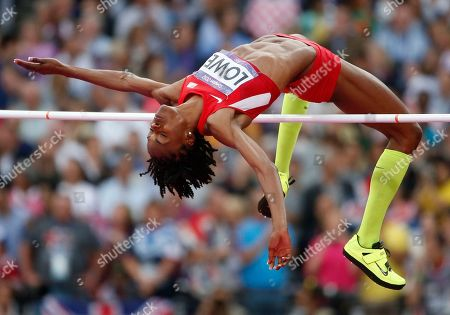 United States' Chaunte Lowe clears the bar in the women's high jump final during the athletics in the Olympic Stadium at the 2012 Summer Olympics, London