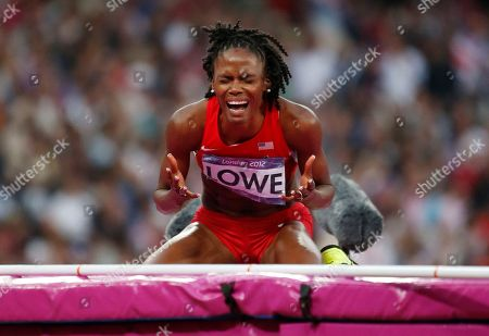 United States' Chaunte Lowe reacts after failing to clear the bar in the women's high jump final during the athletics in the Olympic Stadium at the 2012 Summer Olympics, London