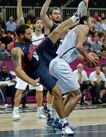 Manu Ginobili, Deron Williams USA's Deron Williams, left, lands on Argentina's Manu Ginobili while trying to block a drive to the basket during a men's basketball game at the 2012 Summer Olympics, in London