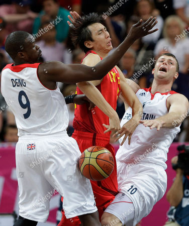 Yi Li, center, Luol Deng, Robert Archibald China's Yi Li, center, is pressured by Great Britain's Luol Deng, (9) and Robert Archibald (10) during a preliminary men's basketball game at the 2012 Summer Olympics, in London