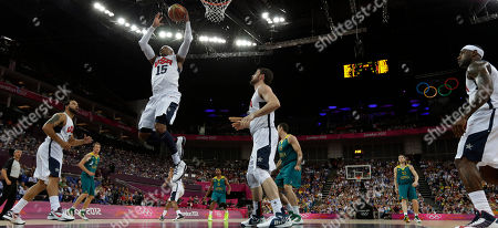 Carmelo Anthony, Deron Williams, Lebron James USA's Carmelo Anthony (15) grabs a rebound as teammates Deron Williams, left, and Lebron James, right, look one during a quarterfinal men's basketball game against Australia at the 2012 Summer Olympics, in London