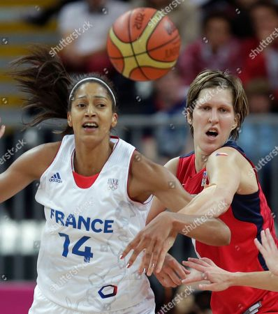 Jana Vesela, Emmeline Ndongue Czech Republic's Jana Vesela, right, tries to hold back France's Emmeline Ndongue during a women's basketball game at the 2012 Summer Olympics, in London