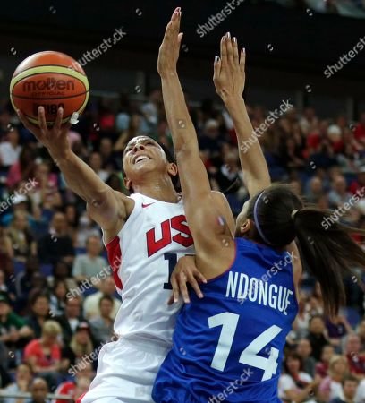 Candace Parker, Emmeline Ndongue United States' Candace Parker drives to the basket against France's Emmeline Ndongue during the women's gold medal basketball game at the 2012 Summer Olympics, in London