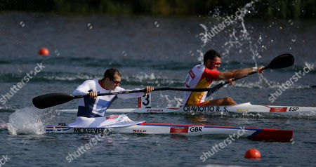 Great Britain's Ed McKeever, left, paddles on his way to a gold medal in the men's kayak single 200m in Eton Dorney, near Windsor, England, at the 2012 Summer Olympics, . Spain's Saul Craviotto Rivero, at rear, won the silver medal