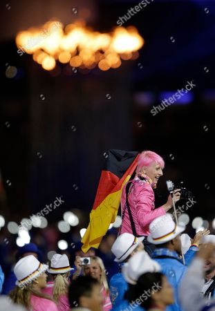 German high jumper Ariane Friedrich arrives during the Closing Ceremony at the 2012 Summer Olympics, in London