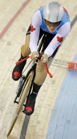 Stock Picture of Tara Whitten Canada's Tara Whitten competes in the track cycling women's omnium individual pursuit, at the 2012 Summer Olympics, in London