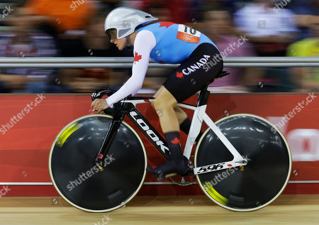 Stock Image of Tara Whitten Canada's Tara Whitten competes in the women's omnium flying lap event, during the 2012 Summer Olympics, in London
