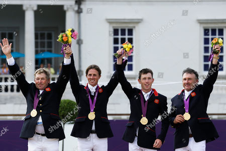 Nick Skelton, Ben Maher, Scott Brash, Peter Charles Great Britain's Nick Skelton, Ben Maher, Scott Brash and Peter Charles, from left, wave to the crowd after receiving the gold medal in the equestrian show jumping team competition, at the 2012 Summer Olympics, in London