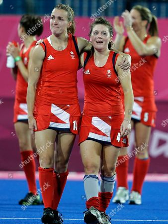 Laura Unsworth, Laura Bartlett Britain's Laura Unsworth (4) and Laura Bartlett (14) react to the cheers of the crowd following their loss to Argentina in a women's hockey semifinal at the 2012 Summer Olympics, in London