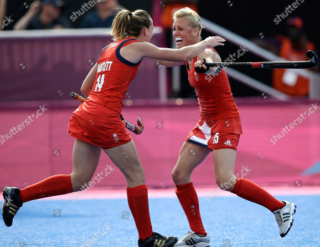 Alex Danson, Laura Bartlett Britain's Alex Danson, right, celebrates her goal with teammate Laura Bartlett in the women's field hockey bronze medal match at the 2012 Summer Olympics, in London. Britain won 3-1