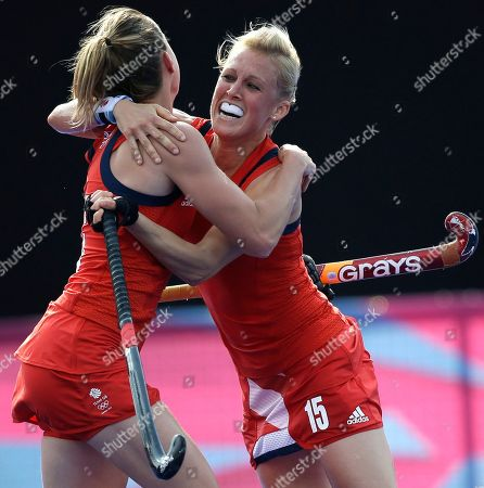 Alex Danson, Laura Bartlett Britain's Alex Danson, right, celebrates her goal with teammate Laura Bartlett during the women's hockey bronze medal match against New Zealand at the 2012 Summer Olympics, in London. Britain won 3-1