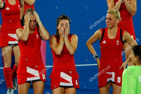 Laura Bartlett, Laura Unsworth, Alex Danson Britain's Laura Bartlett, left, Laura Unsworth, center, and Alex Danson leave the field after loosing to Argentina in a women's hockey semifinal match at the 2012 Summer Olympics, in London