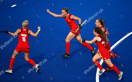 Alex Danson, Laura Bartlett, Laura Unsworth, Chloe Rogers Britain's Alex Danson, from left, Laura Bartlett, Laura Unsworth and Chloe Rogers celebrate a goal against New Zealand during the second half of their women's hockey bronze medal match at the 2012 Summer Olympics, London