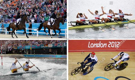 The combo from files show - from top left clockwise - Britain's rider Peter Charles, left, and Nick Skelton at show jumping team competition on Aug. 6, 2012, in London; Germany's Tim Grohmann, Lauritz Schoof, Phillipp Wende, and Karl Schulze celebrating after winning the gold medal for the men's quadruple rowing sculls on Aug, 3, 2012; gold medal winner Britain's Chris Hoy leading silver medalist Maximilian Levy of Germany after the track cycling men's sprint event, in London and Tim Baillie, front, and Etienne Stott of Britain competing in the men's C-2 canoe double semifinal Aug. 2, 2012, in Waltham Cross, near London