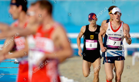 Nicholas Woodbridge Nicholas Woodbridge, of Great Britain, right, competes during the combination running and shooting stage of the men's modern pentathlon at the 2012 Summer Olympics, in London
