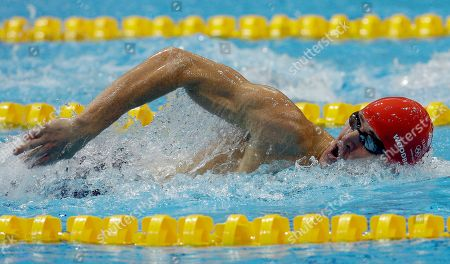 Nicholas Woodbridge from Great Britain competes during the swimming competition as part of the modern pentathlon at the Aquatics Centre in the Olympic Park during the 2012 Summer Olympics in London