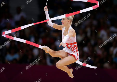 Austria's Caroline Weber performs during the rhythmic gymnastics individual all-around qualifications at the 2012 Summer Olympics, in London