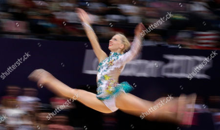 Austria's Caroline Weber performs during the rhythmic gymnastics individual all-around qualifications at at the 2012 Summer Olympics, in London