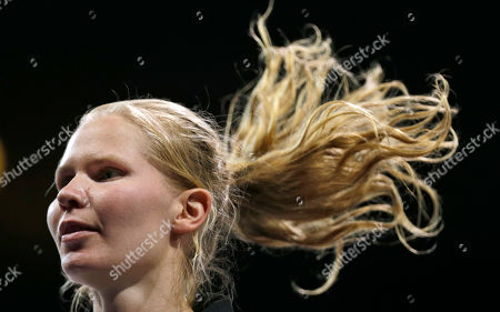 Finland's Suvi Mikkonen makes her way to fight United States' Diana Lopez in women's 57-kg taekwondo competition at the 2012 Summer Olympics, in London