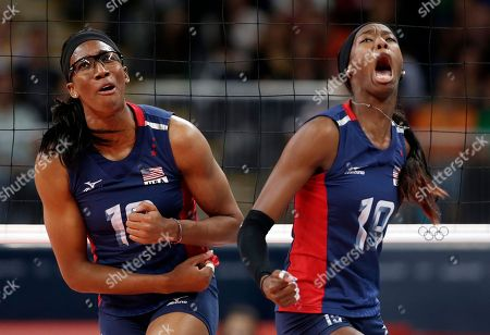 United States mb Foluke Akinradewo, left, and Destinee Hooker react during the women's gold medal volleyball match against Brazil at the 2012 Summer Olympics, in London
