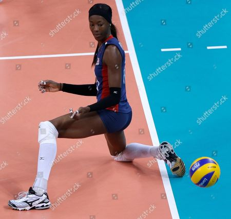 Destinee Hooker United States' Destinee Hooker watches after a ball bounces in for a Brazil point during a women's gold medal volleyball match at the 2012 Summer Olympics, in London