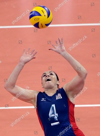 Stock Image of Lindsey Berg United States' Lindsey Berg sets during a women's gold medal volleyball match against Brazil at the 2012 Summer Olympics, in London