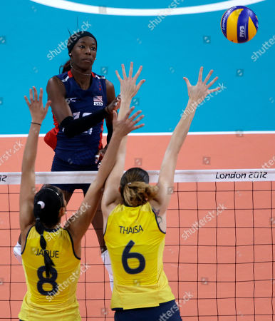 Destinee Hooker, Jaqueline Carvalho, Thaisa Menezes United States' Destinee Hooker, top, spikes the ball over Brazil's Jaqueline Carvalho (8) and Thaisa Menezes (6) during a women's gold medal volleyball match at the 2012 Summer Olympics, in London