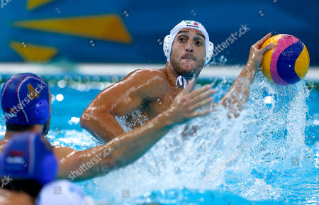Valentino Gallo, Vanja Udovicic Italy's Valentino Gallo, right, looks to shoot against Serbia's Vanja Udovicic during a men's semifinal water polo match at the 2012 Summer Olympics, in London