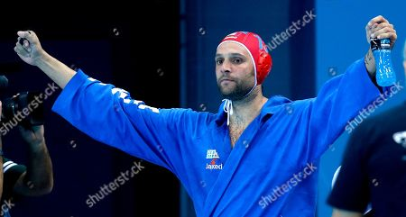 Giacomo Pastorino Italy goalkeeper Giacomo Pastorino reacts to a goal by teammate Valentino Gallo during a men's semifinal water polo match against Serbia at the 2012 Summer Olympics, in London