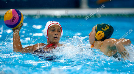 Sophie Smith, Brenda Villa Sophie Smith, right, of Australia defends against Brenda Villa of the United States during a women's semifinal water polo match at the 2012 Summer Olympics, in London