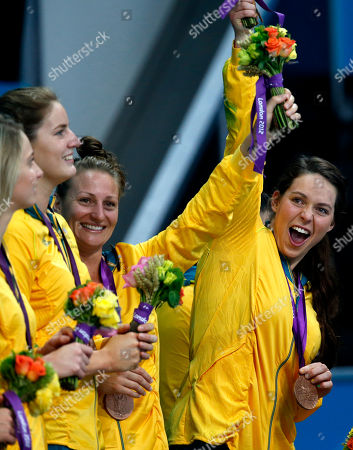 Nicola Zagame, Mel Rippon Australia's Mel Rippon, left, and Nicola Zagame gesture during the medal ceremony after Australia beat Hungary 13-11 in overtime of the women's water polo bronze medal match at the 2012 Summer Olympics, in London